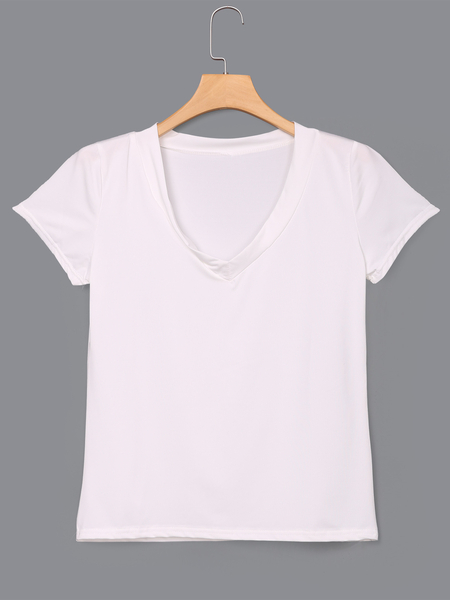 Yoins White Low Cut V-neck T-shirts