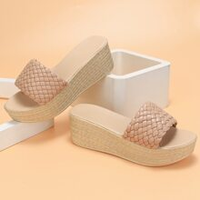 Braided Strap Wedge Mules