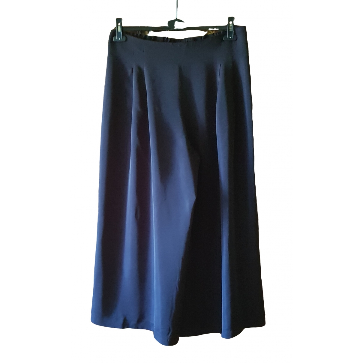 Non Signé / Unsigned \N Black Silk Trousers for Women 48 IT