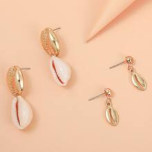 2pairs Shell Drop Earrings