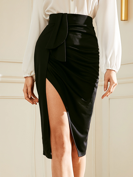 YOINS Black Belted Slit Design Skirt