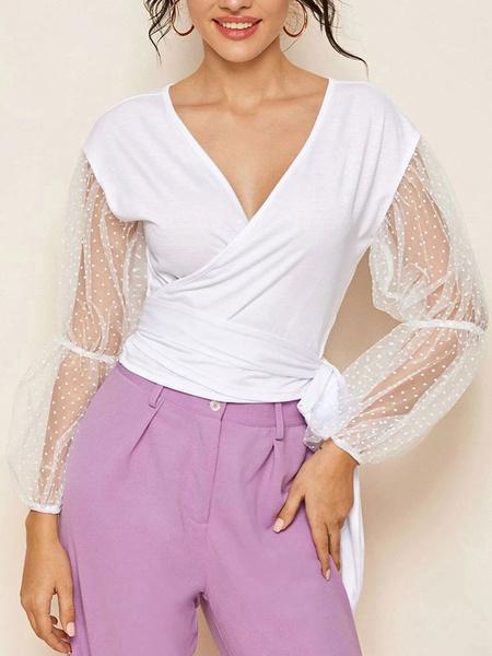 Milanoo White Wrap Top Sheer Long Sleeve Women Sexy Tops
