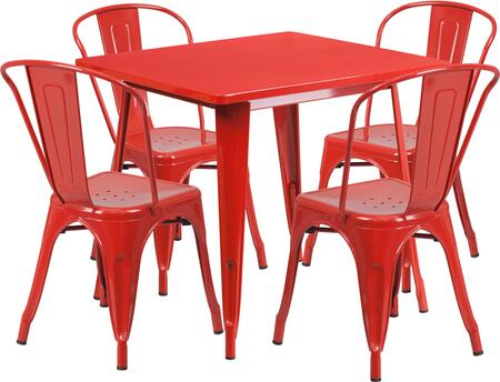 ETCT002 Collection ET-CT002-4-30-RED-GG 5 Piece Indoor-Outdoor Table Set with 4 Stackable Arm Chairs  Square Cafe Table  Ergonomically Curved Slat