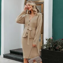 Button Front Buckle Belted Rib-knit Cardigan & Skirt Set