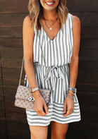 Striped Drawstring Tie Open Back Mini Dress without Necklace