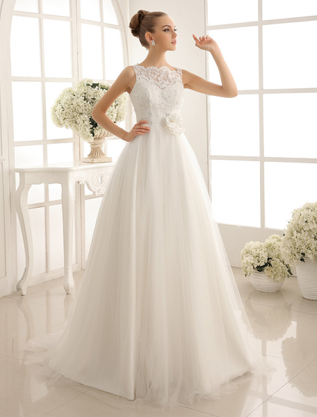 Milanoo Bateau Neck Wedding Gown With Chapel Train