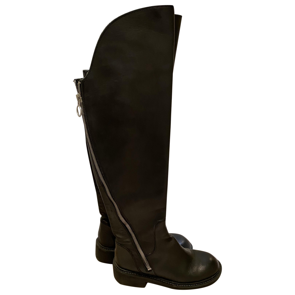 Ash \N Black Leather Boots for Women 38 EU
