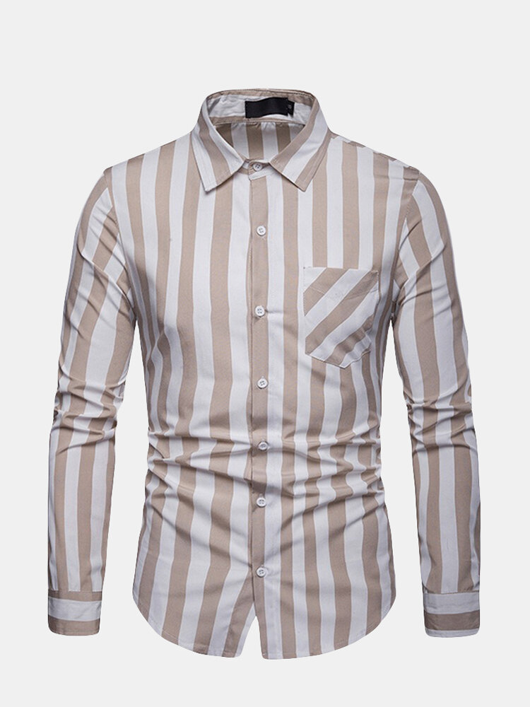 Mens Business Casual Striped Button Down Long Sleeve Slim Dress Shirt