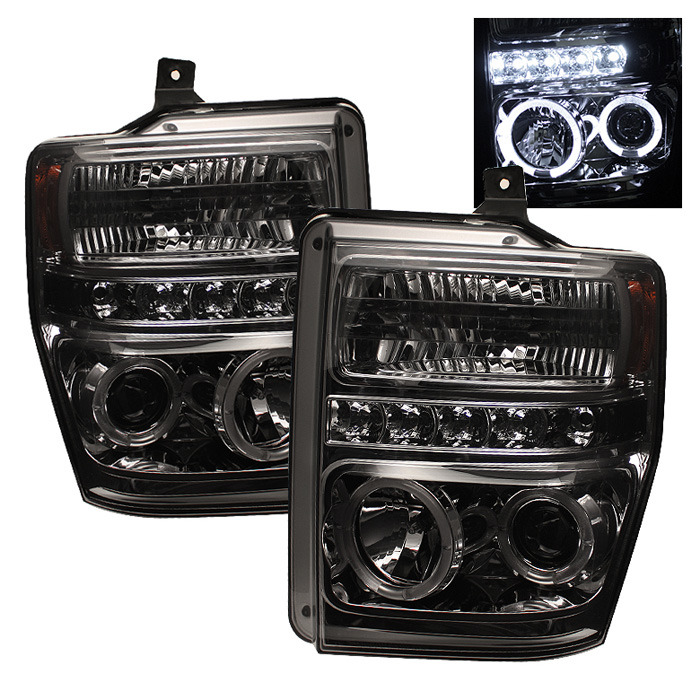 Spyder Auto PRO-YD-FS08-HL-SMC Smoke LED Halo Projector Headlights with High H1 and Low H1 Lights Included Ford F-350 Super Duty 08-10