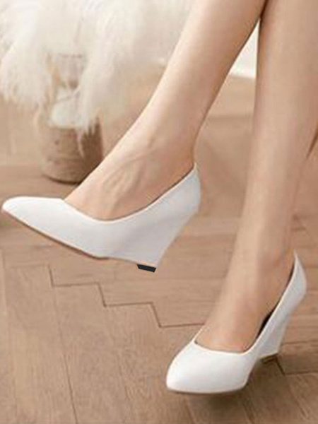 Milanoo Wedding Shoes White PU Leather Pointed Toe Wedge Heel Bridal Shoes