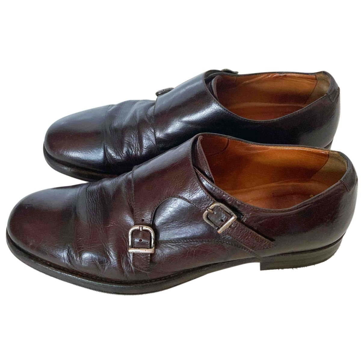 Doucal's N Brown Leather Flats for Men 42 EU