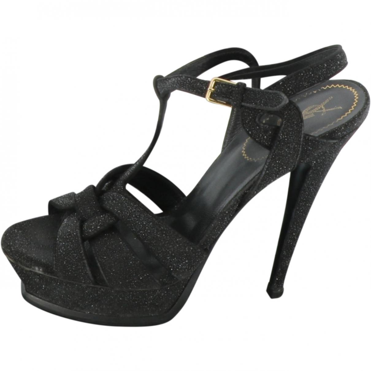 Yves Saint Laurent Tribute Black Suede Sandals for Women 40 EU