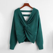 Twist Front Drop Shoulder Sweater