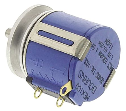 Bourns 2 Gang 10 Turn Rotary Wirewound Potentiometer with an 3.18 mm Dia. Shaft - 10kΩ, 2W Power Rating, Logarithmic,