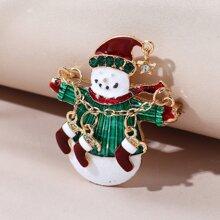 Christmas Snowman Design Brooch