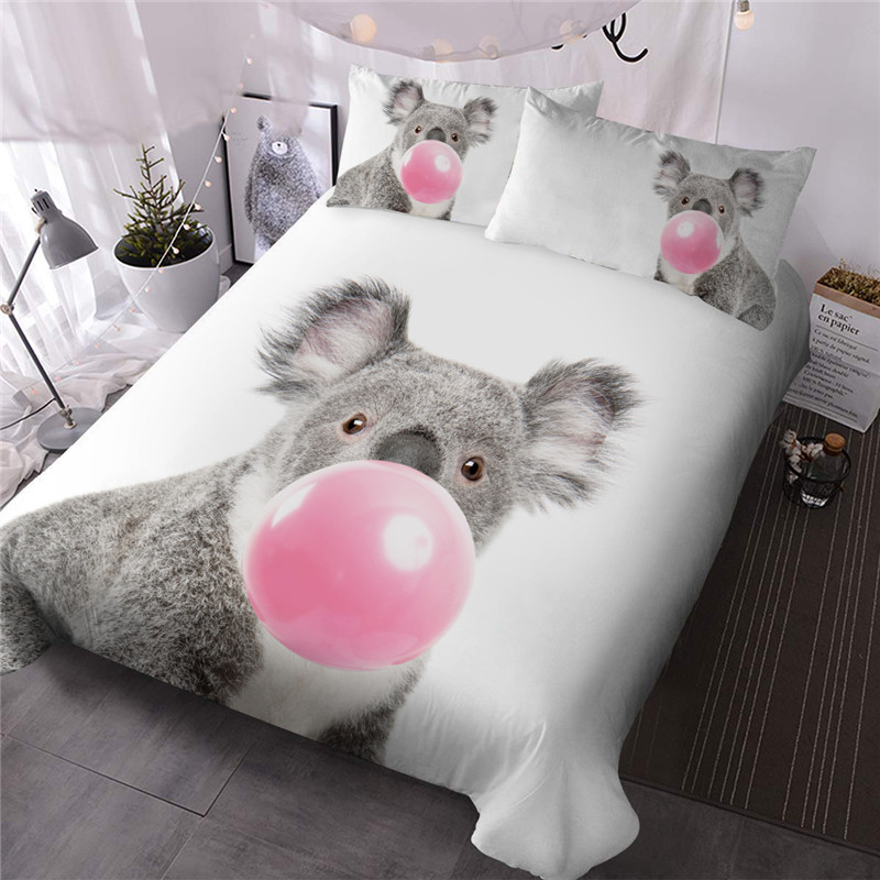 Bubbling Koala Simple Style Reactive Printing Polyester Three-Piece Set Including 1 Comforter and 2 Pillowcases