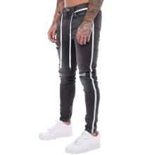 Maenner Schmale Jeans mit Kontrast Schnur und Riss