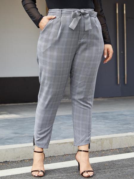 YOINS Plus Size Grey Plaid With Belt Pants
