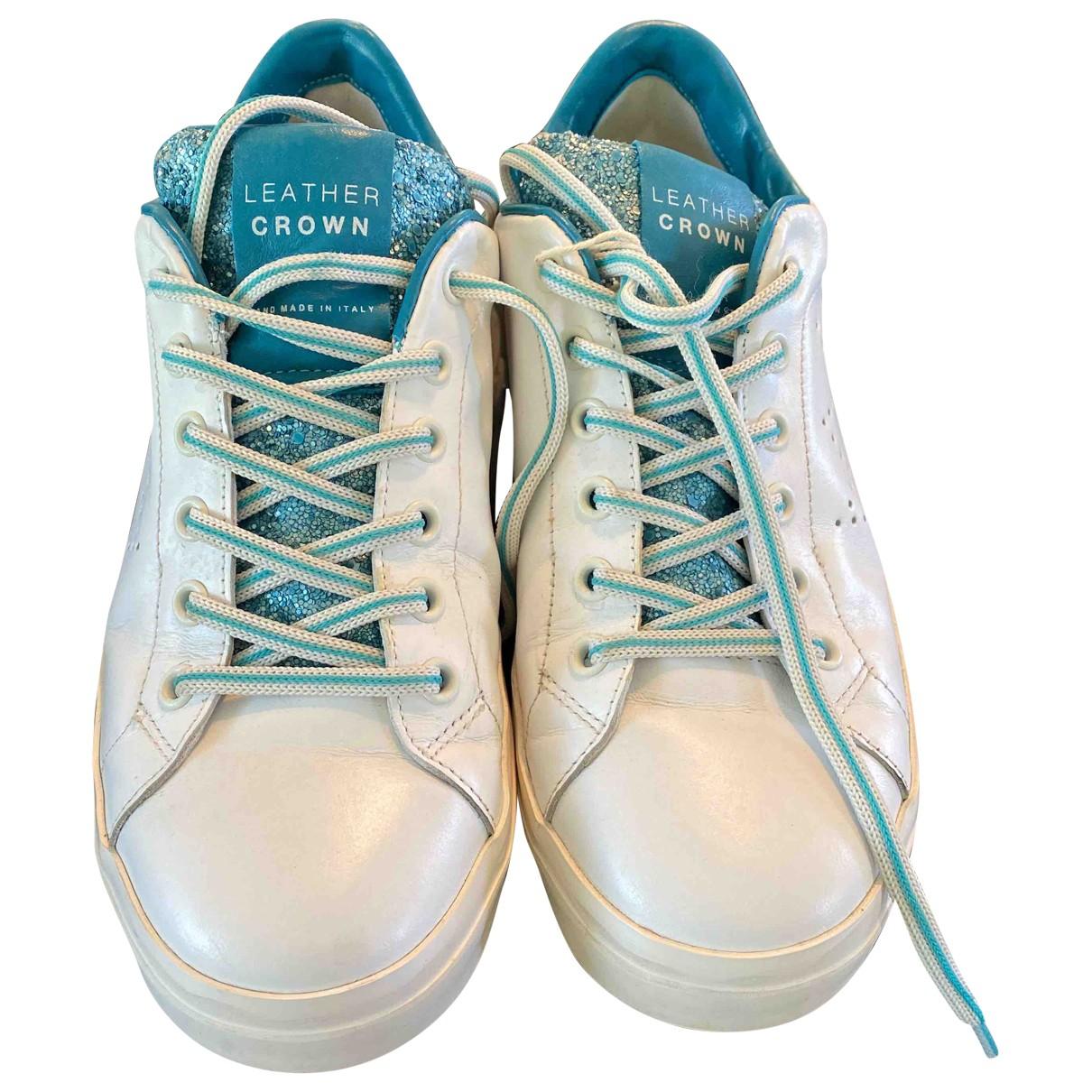 Leather Crown \N Sneakers in  Weiss Leder