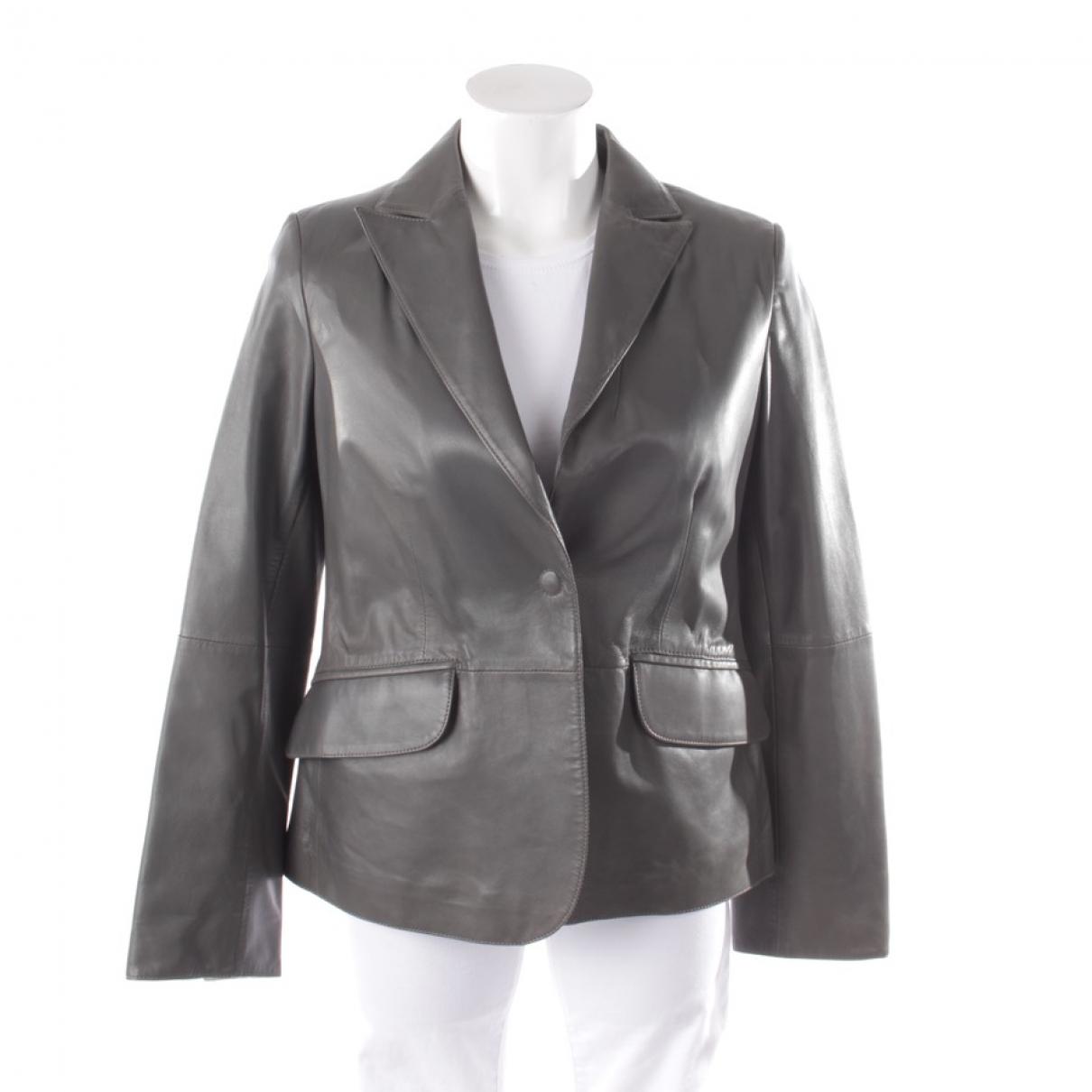 Armani Collezioni - Veste   pour femme en cuir - gris