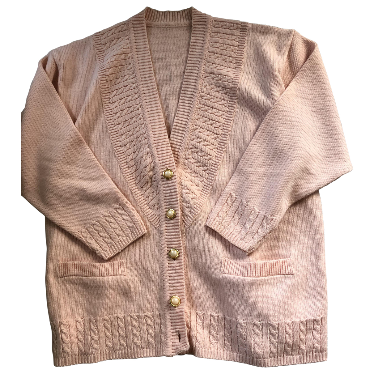 Non Signé / Unsigned Oversize Pink Wool Knitwear for Women L International