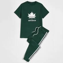 Conjunto top con estampado de letra con pantalones deportivos con cinta lateral de rayas