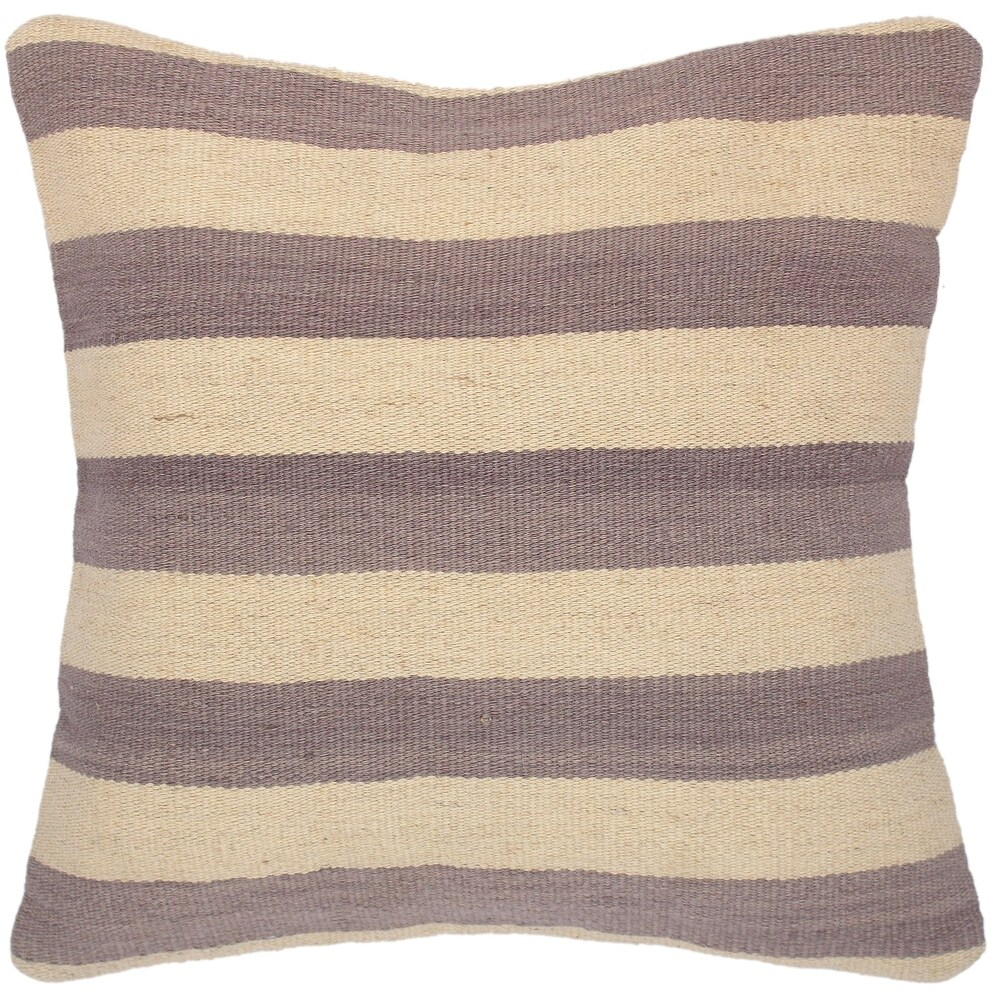 Modern Pierre Hand-Woven Turkish Kilim  Pillow 18 in. x 19 in. (Accent - 18 in. x 19 in. - Polyester - Beige - Single)