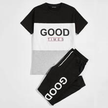 Men Slogan Graphic Tee and Sweatpants Set