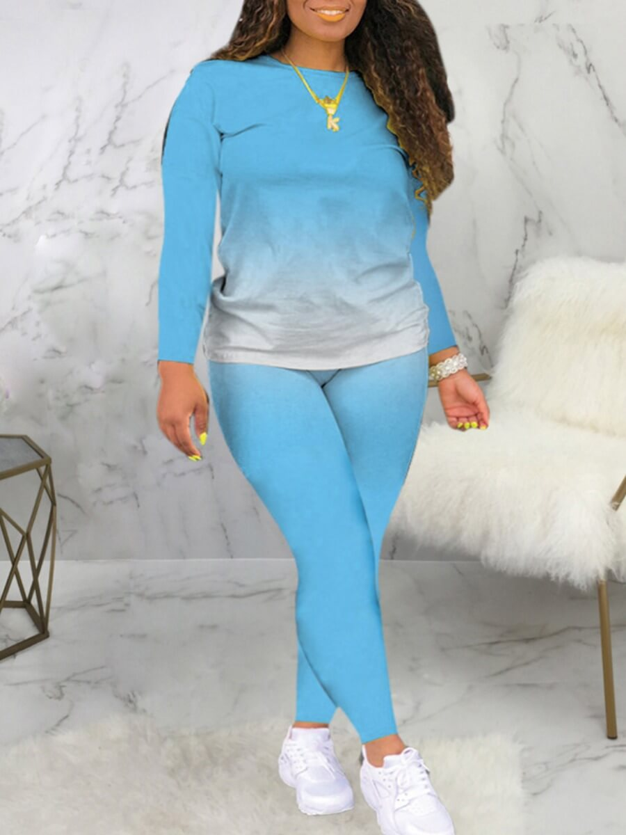 LW Lovely Casual O Neck Gradient Print Skyblue Two Piece Pants Set