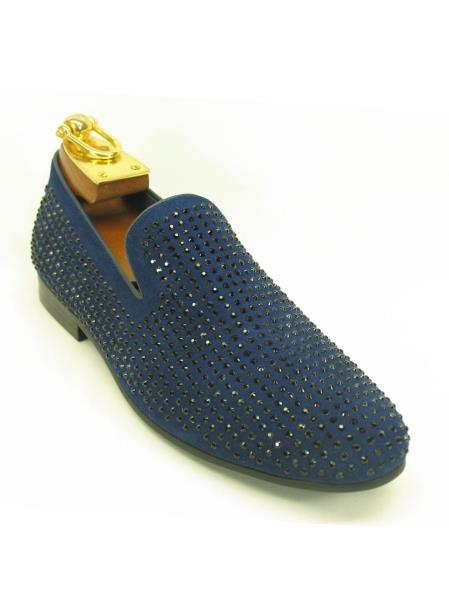 Men's Fashionable Slip On Style Crystal Navy Shoes