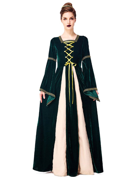 Milanoo Victorian Dress Costume Dark Green Retro Costumes Women\'s Printed Crochet Lace Up Trumpet Long Sleeves Square Neckline Costume Headwear Vinta