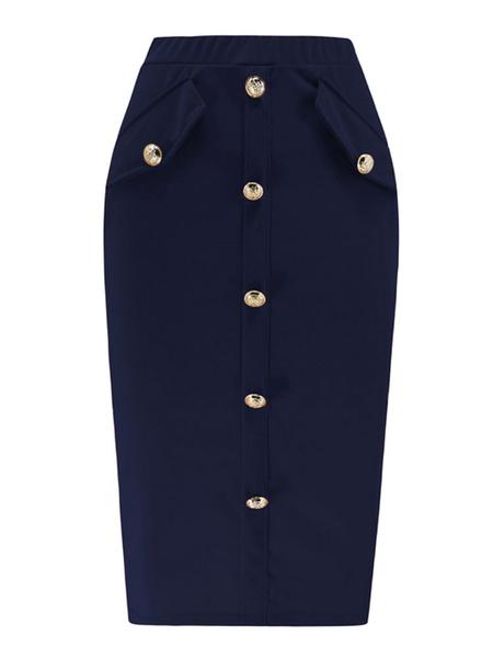 Milanoo Falda de mujer Botones de color caqui Pantalones de cintura elastica
