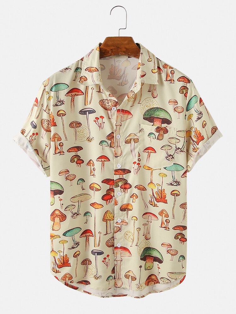 Mens Colorful Element Pattern Print Loose Light Short Sleeve Shirts