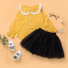 Outfits dos piezas para niña pequeña Volante fruncido Monocolor Dulce