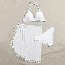 3pack Halter Bikini Swimsuit & Tassel Beach Skirt