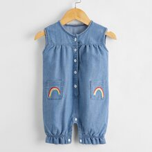 Baby Boy Rainbow Embroidered Denim Romper