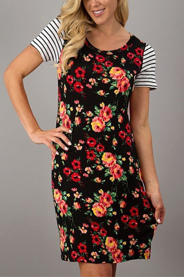 Yoins Black Random Floral Print Stripe Stitching Design Dress