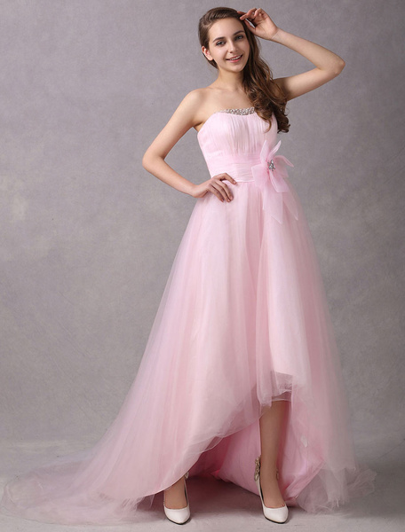Milanoo Pink Prom Dresses Strapless Asymmetrical Bows Beaded Colored Wedding Dress