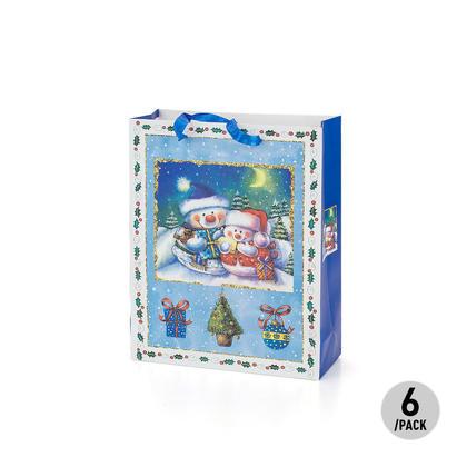 Gift Bag Present Bag Cartoon With Little Snowman Medium Size 6Pcs - LIVINGbasics™