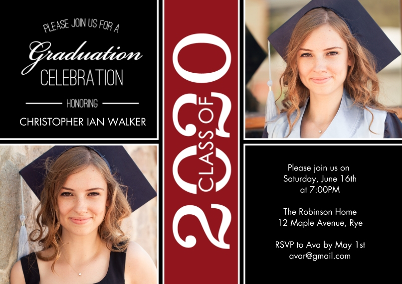 2020 Graduation Invitations 5x7 Cards, Premium Cardstock 120lb with Elegant Corners, Card & Stationery -Grad Party 2020 Celebration by Tumbalina