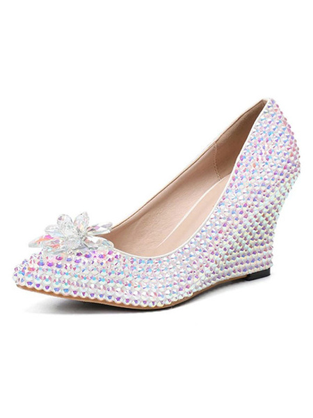 Milanoo Luxury Prom Shoes Crystal Wedge Party Shoes with Rhinestones