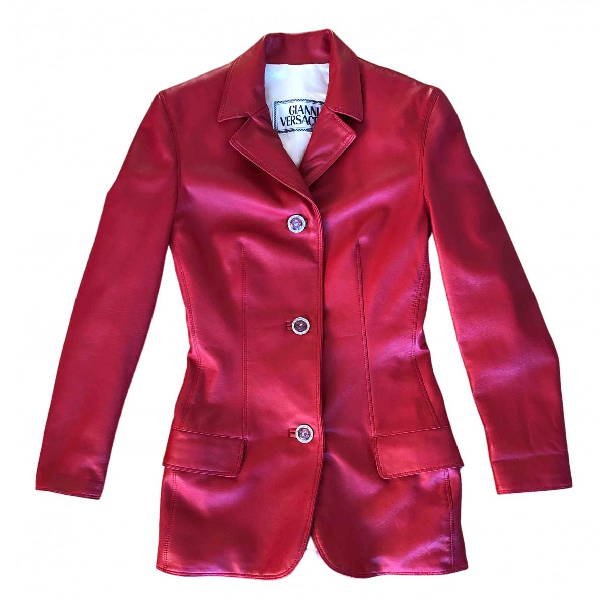 Gianni Versace \N Lederjacke in  Rot Leder