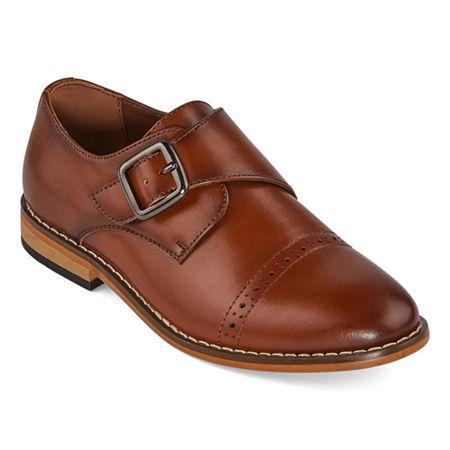 Stacy Adams Boys Desmond Monk Shoe, 4 Medium, Brown