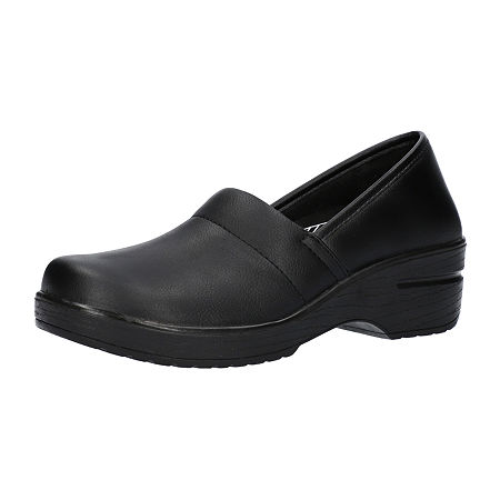 Easy Works By Easy Street Womens Laurie Round Toe Slip-On Shoe, 7 1/2 Wide, Black