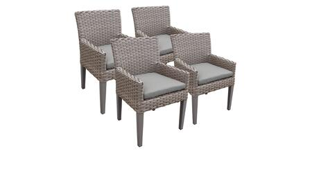 Monterey Collection MONTEREY-TKC297b-DC-2x-C-GREY 4 Dining Chairs With Arms - Beige and Grey