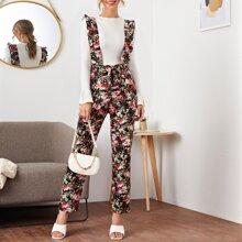 Flower Print Belted Ruffle Straps Suspender Jumpsuit
