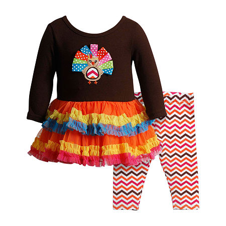 Youngland Thanksgiving Baby Girls Long Sleeve 2-pc. Dress Set, 12 Months , Multiple Colors