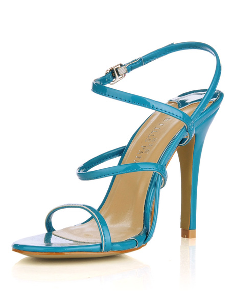 Milanoo High Heel Sandals Womens Patent Leather Open Toe Slingback Stiletto Heels Sandals