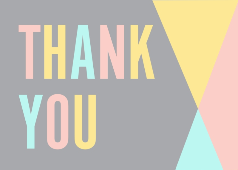 Thank You Cards Mail-for-Me Premium 5x7 Folded Card , Card & Stationery -Tricolored Thank you