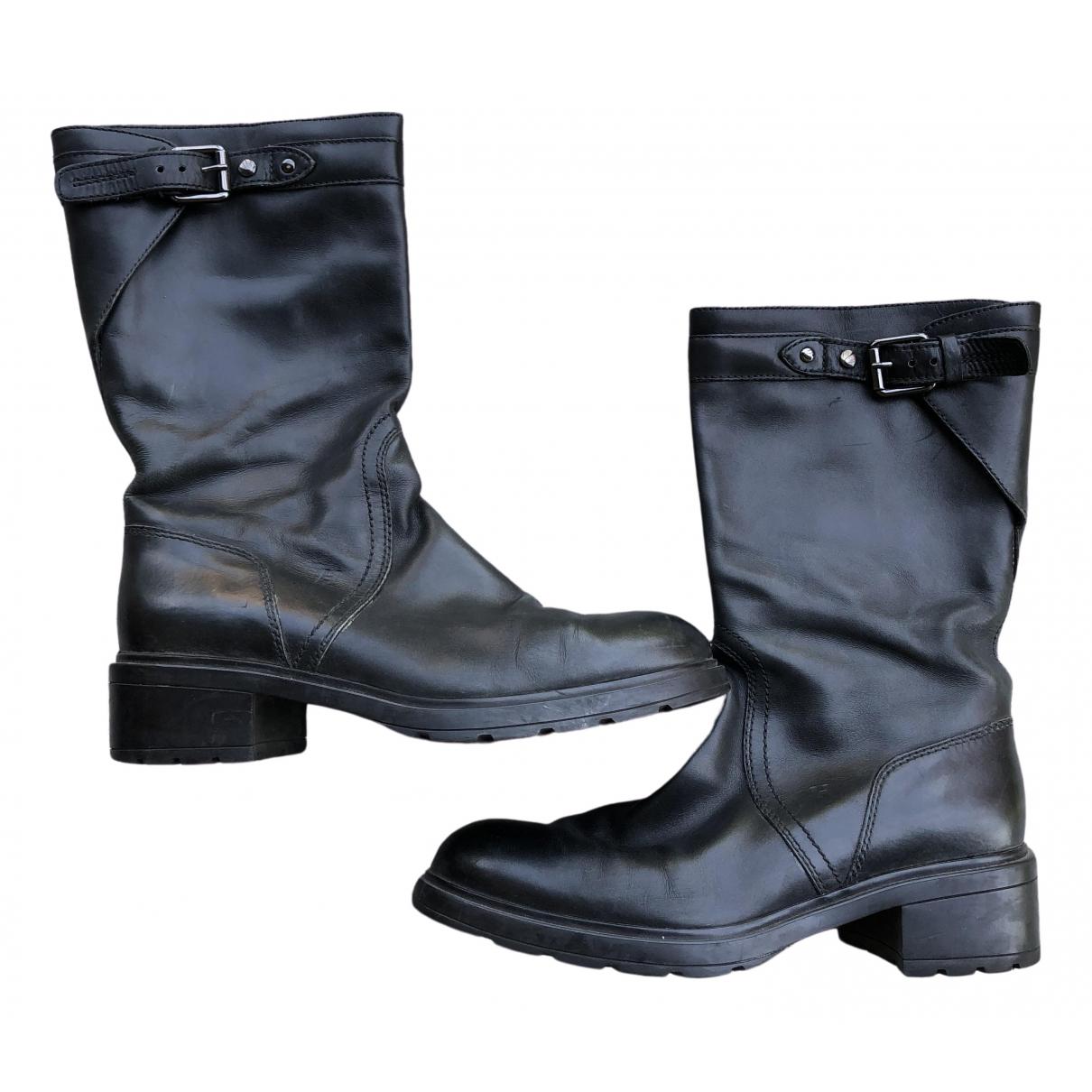 Hogan - Bottes   pour femme en cuir - noir